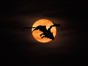 dragon riding an orange moon