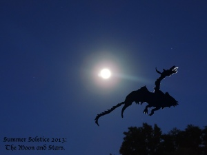 solstice moon and dragon with stars