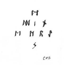 Myddin Emrys spelled in runes