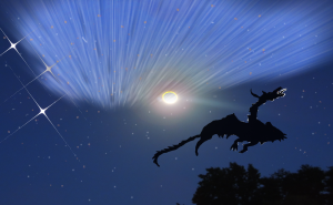 solstice moon and dragon with stars aurora 1
