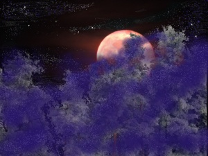 moon rise over snow covered trees with purple fog
