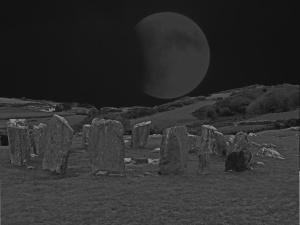 irish henge with eclipse of the moon
