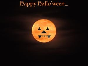 moon with fangs happy halloween