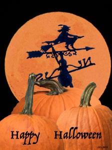 three pumpkins and moon