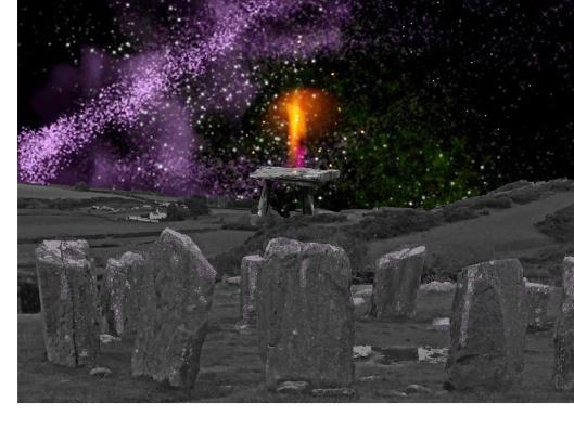 night sky with henge and sky portal